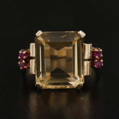 Retro 14K 8.00 CT Citrine Ring with Ruby Accents