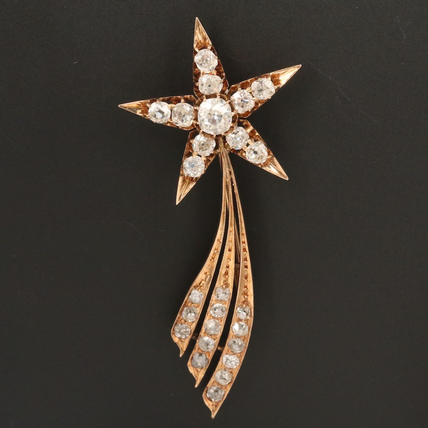 Circa 1900 10K Gold 3.17 CTW Diamond Shooting Star Brooch