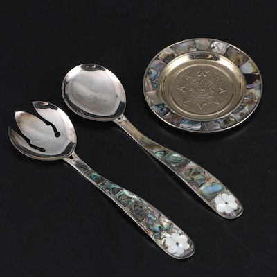 Mexican Abalone and Silver Tone Serving Utensils and Ashtray