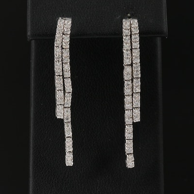 14K Diamond Double Dangle Earrings