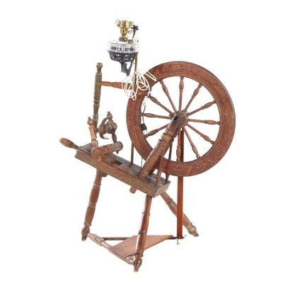 Victorian Style Wooden Spinning Wheel with Electric Lantern