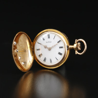 14K Diamond Le Parc Pocket Watch