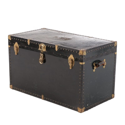 Canvas-Clad Black Lacquer and Brass Mounted Trunk