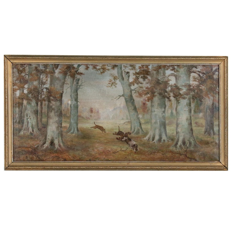 Oil Painting of Hunting Dogs, Late 19th to Early 20th Century