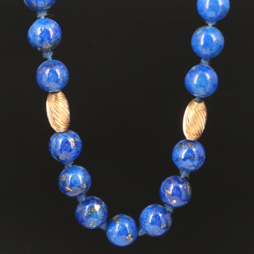 14K Individually Knotted Lapis Lazuli Beaded Necklace