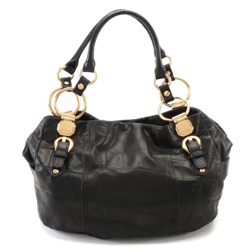 B. Makowsky Black Croc-Embossed Leather Shoulder Bag