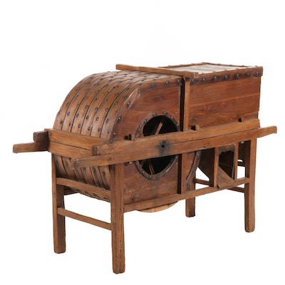 Chinese Hand Crafted Wooden Rice Thresher, Late 19th Century