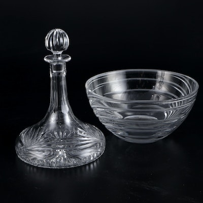 "Marquis by Waterford Crystal ""Calais"" Ships Decanter and ""Artesia"" Swirl Bowl"