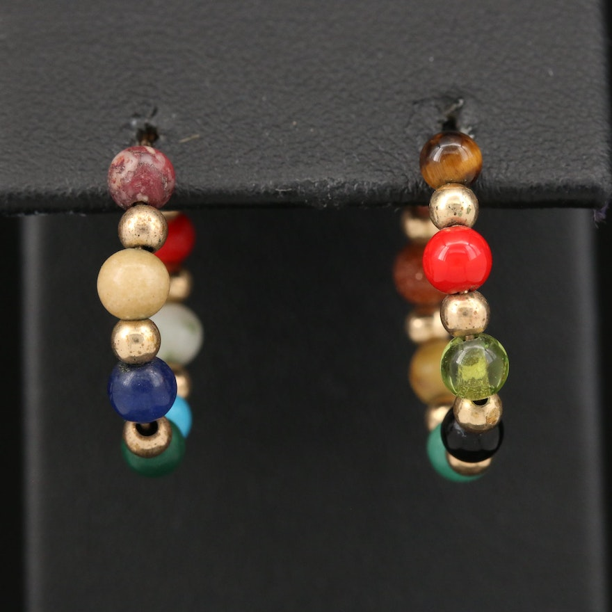 Hoop Earrings Featuring Amazonite, Tiger's Eye, Peridots and  Sunstone Glass