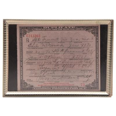 Depression Era National Prohibition Act Medicinal Form for Alcohol, 1931