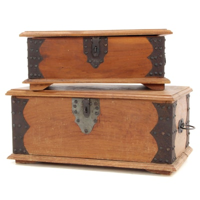 Two Metal-Bound Camphor Wood Graduated Chests, Early to Mid 20th Century