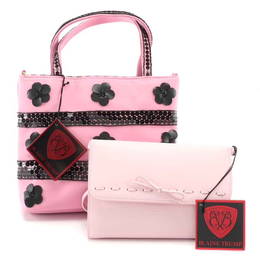 Blaine Trump Pink Leather Convertible Clutch and Embellished Pink Fabric Tote