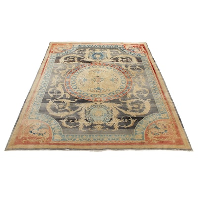 10'6 x 12'5 Hand-Knotted Turkish Oushak Village Room-Size Rug, 1950s