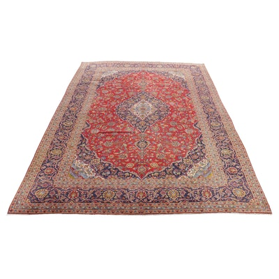 9'10 x 14' Hand-Knotted Persiah Kashan Room-Size Rug, 1970s