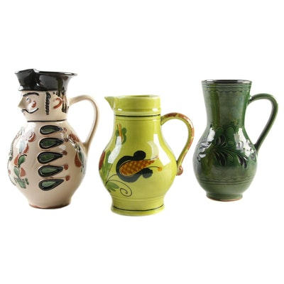 Hungarian and German Hand-Made Earthenware Pitchers, Vintage