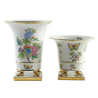"Herend Hand-Painted ""Queen Victoria"" Porcelain Claw Foot Urn Vases"