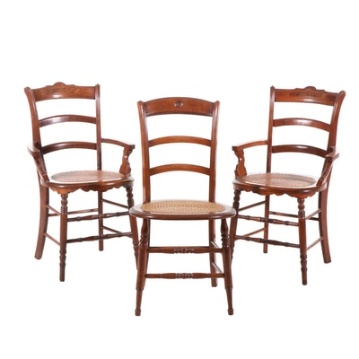 Transitional Oak Chairs with Woven Cane Seats, Set of Three, Early 20th Century