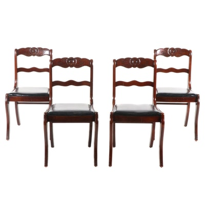 Victorian Style Side Chairs with Leather Upholstery, Late 20th Century