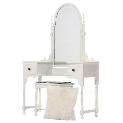 Northern Furniture Company White Painted Vanity Table with Matching Stool