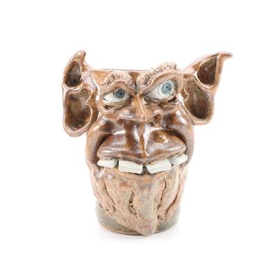 "Tom Phelps Studio ""Bower"" Folk Art Face Mug, 2003"