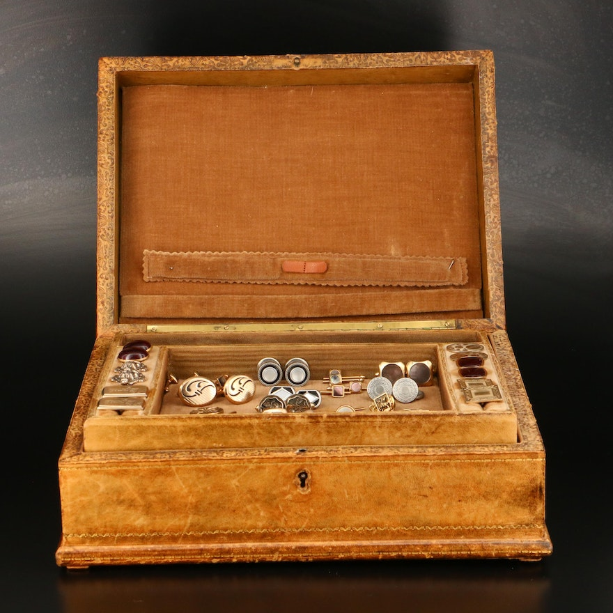 Victorian Leather Jewelry Box Featuring Kum-a-Part Cufflinks