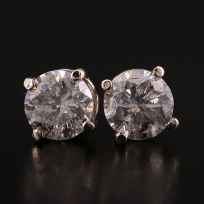 14K White Gold 1.66 CTW Diamond Stud Earrings