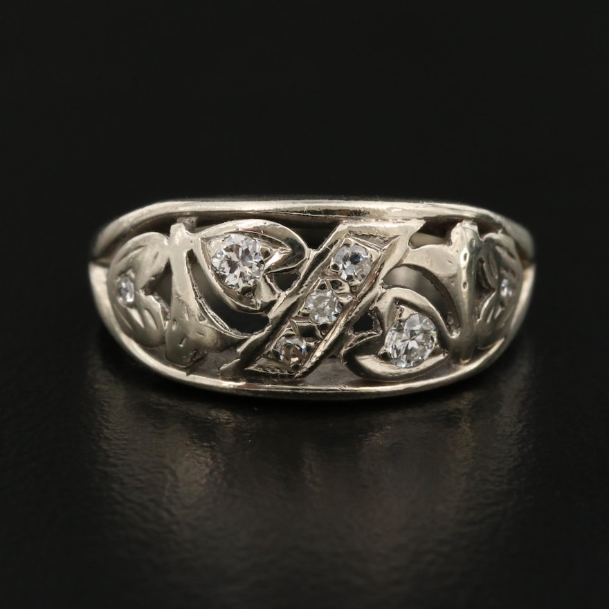 14K Gold Diamond Ring with Scroll Detail