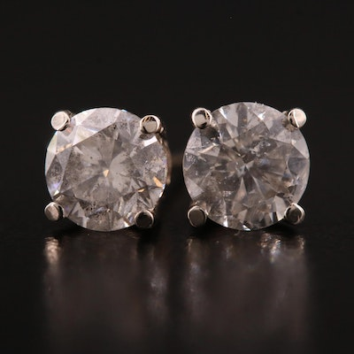 14K White Gold 1.41 CTW Diamond Stud Earrings