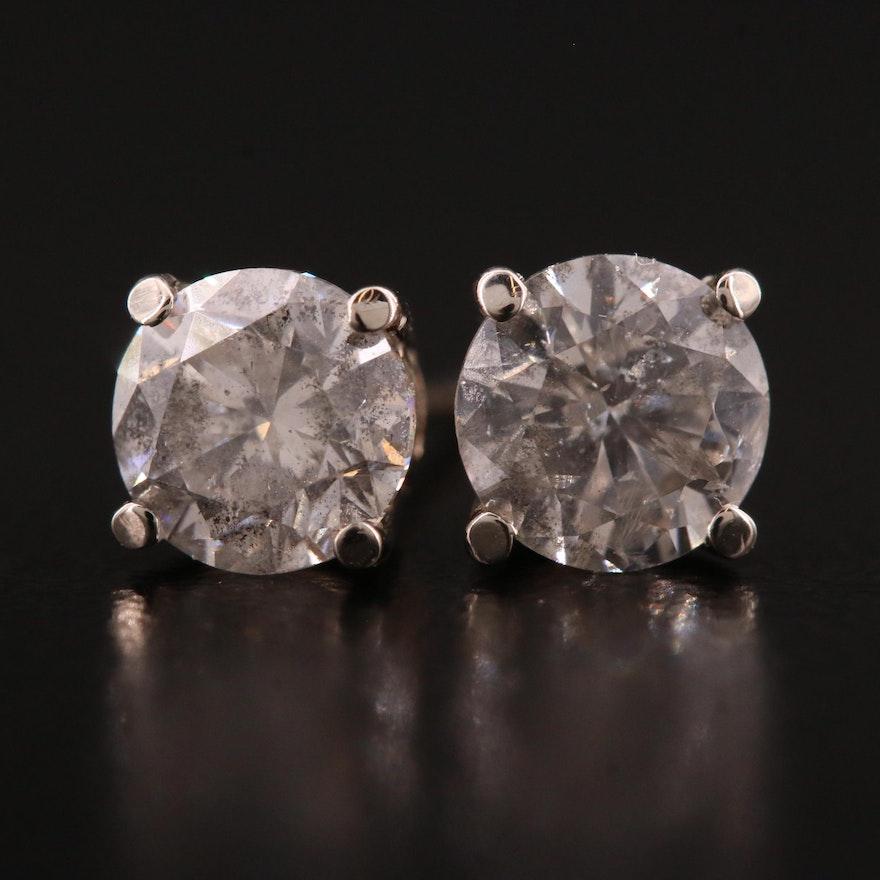 14K White Gold 1.41 CTW Diamond Stud Earrings