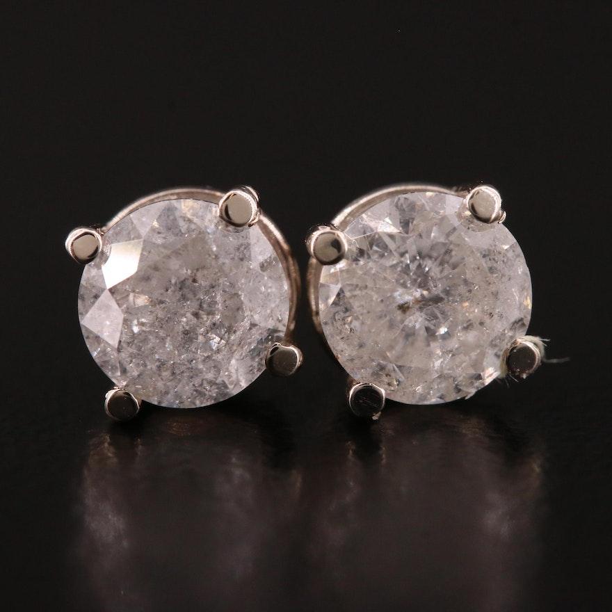 14K White Gold 1.52 CTW Diamond Stud Earrings