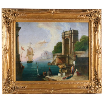 European Harbor Scene Oil Painting
