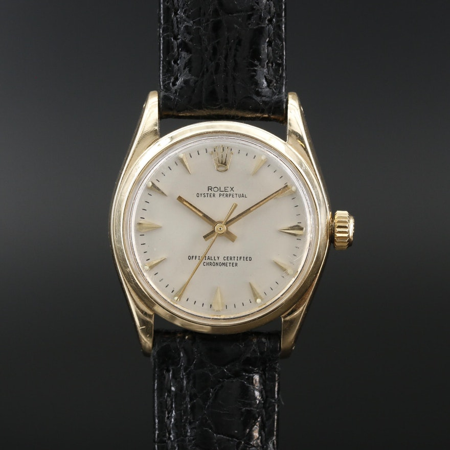 1957 Rolex Oyster Perpetual 14K Gold Automatic Wristwatch