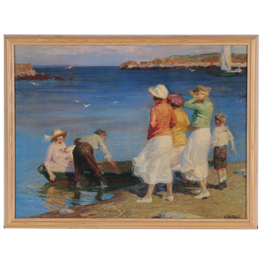 "Offset Lithograph After Edward Potthast ""By the Seashore"""