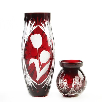 Bohemian Ruby Cut to Clear Glass Floral and Pinwheel Motif Vases