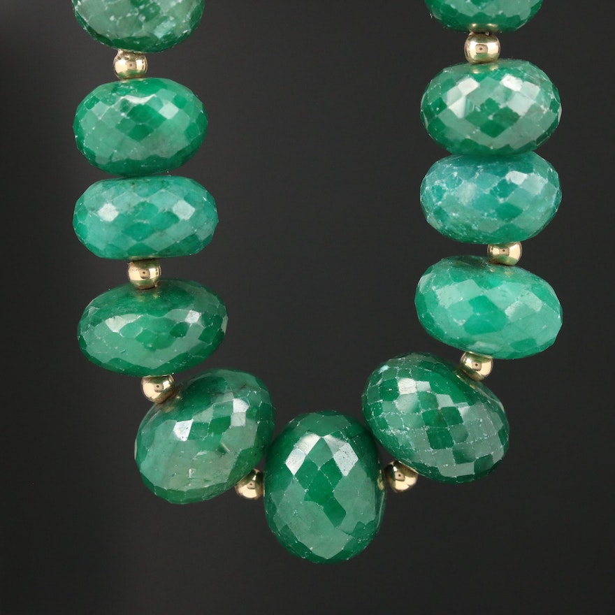14K Graduated Sillimanite Bead Necklace