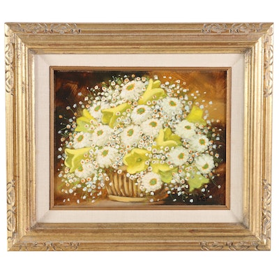 Victor Tor Still Life of Flowers Oil Painting, Mid to Late 20th Century
