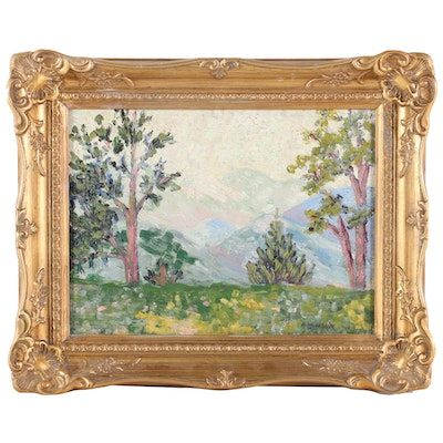 Impressionist Style Mountain Landscape Oil Painting, Early to Mid 20th Century