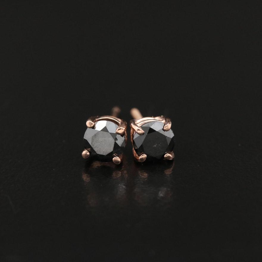 14K 0.76 CTW Black Diamond Stud Earrings
