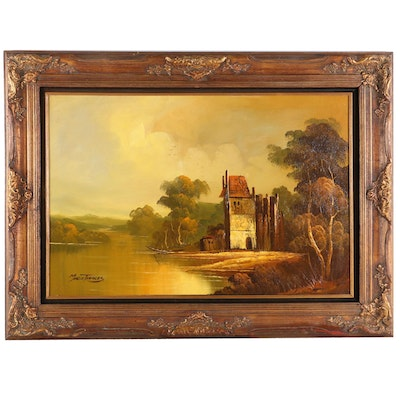 Continental School Style River Scene Oil Painting, Mid-20th Century