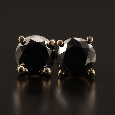 14K 1.00 CTW Black Diamond Stud Earrings