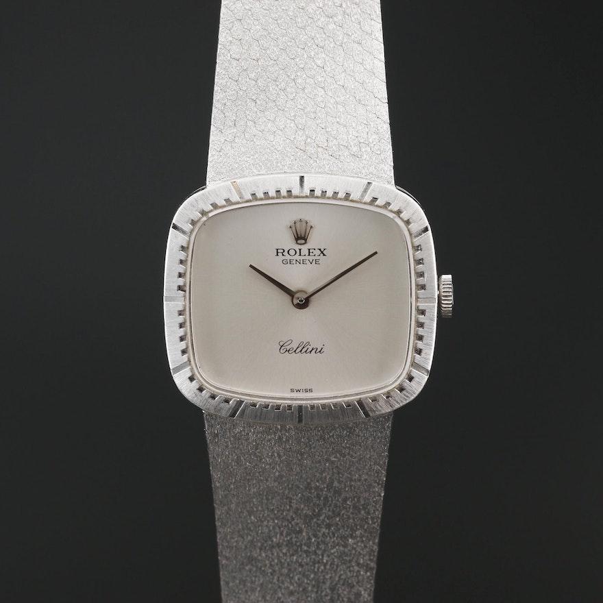 Rolex Cellini 18K White Gold Stem Wind Wristwatch, Circa 1975