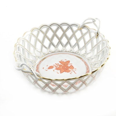 "Herend Hand-Painted ""Chinese Bouquet"" Round Open Weave Porcelain Basket"