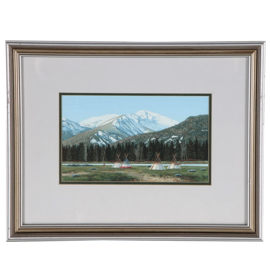 Paul Surber Western Landscape Gouache Painting, Late 20th Century