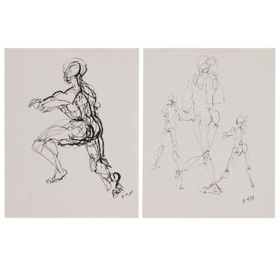 John Tuska Figural Ink Paintings, 1997