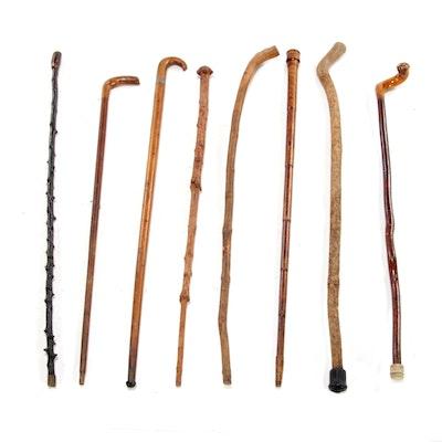 Folk Art Carved Walking Cane Collection