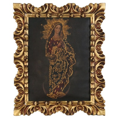 Cuzco School Style Oil Painting of Virgin Mary, Mid 20th Century