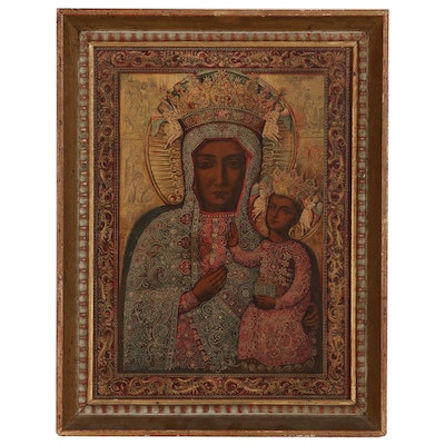 Wood Engraving Icon with Virgin and Child, Late 20th Century