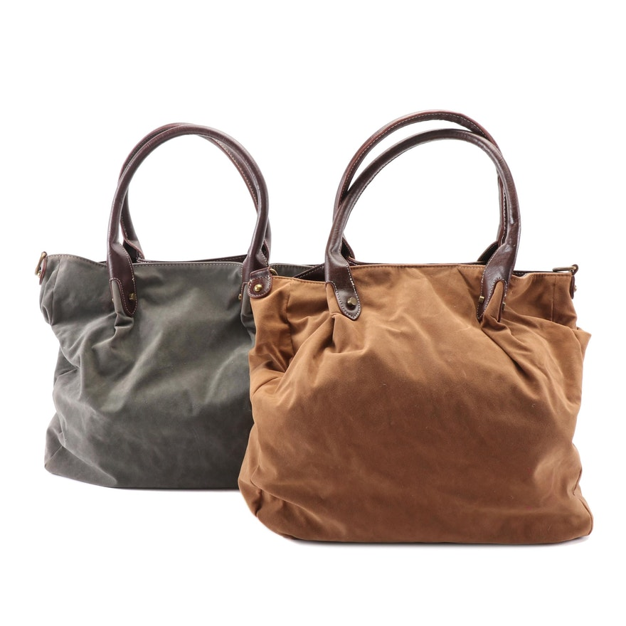 Twiggy London Grey and Brown Faux Suede Shoulder Totes