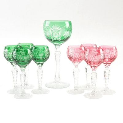 Beyer Bohemian Cut to Clear Crystal Stemware with Fruit Motif