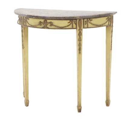 Adam Style Demilune Paint-Decorated Console Table